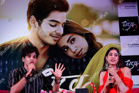 """Janhvi kapoor, Ishaan Khatter. Bollywood actors Janhvi Kapoor, right, and Ishaan Khatter speak during a promotion of their upcoming movie """"Dhadak"""" in Ahmadabad, India, . The movie is scheduled for release on July 20"""