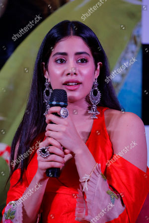 """Bollywood actor Janhvi Kapoor speaks during a promotion of their upcoming movie """"Dhadak"""" in Ahmadabad, India, . The movie is scheduled for release on July 20"""