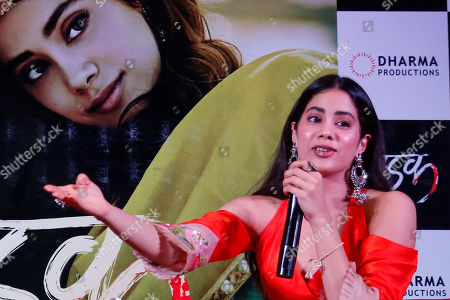 """Janhvi kapoor. Bollywood actor Janhvi Kapoor speaks during a promotion of her upcoming movie """"Dhadak"""" in Ahmadabad, India, . The movie is scheduled for release on July 20"""