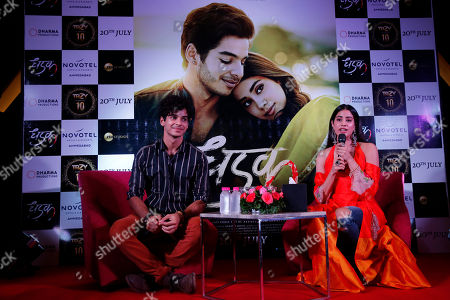 """Janhvi kapoor, Ishaan Khatter. Bollywood actors Janhvi Kapoor, right, and Ishaan Khatter address a promotion of their upcoming movie """"Dhadak"""" in Ahmadabad, India, . The movie is scheduled for release on July 20"""