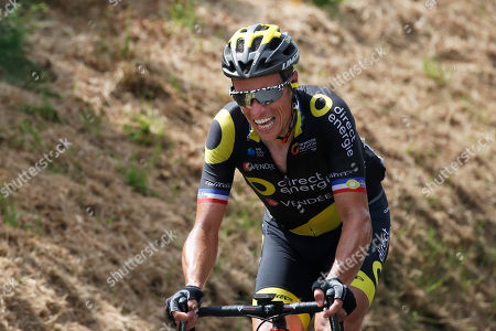 Stock Picture of France's Sylvain Chavanel strains as he rides breakaway during the fifth stage of the Tour de France cycling race over 204.5 kilometers (127 miles) with start in Lorient and finish in Quimper, France