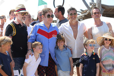 Sir Elton John and David Furnish, Neil Patrick Harris and David Burtka, with their children Harper Burtka-Harris, Gideon Burtka-Harris, Elijah Furnish-John and Zachary Furnish-John