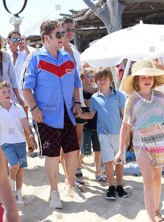 Editorial picture of Elton John, David Furnish, Neil Patrick Harris and David Burtka out and about, St Tropez, France - 10 Jul 2018