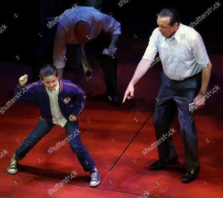Stock Photo of Chazz Palminteri Hudson Loverro in '' a Bronx Tale'' Broadway Play at the Longacre Theatre On W 48st 6/6/2018 Usa New York City