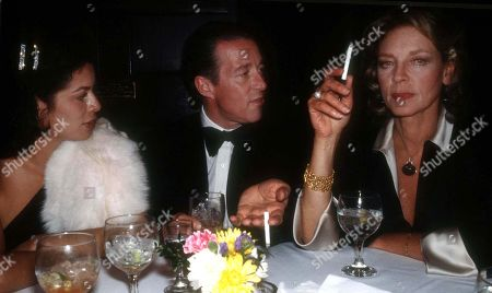 Stock Picture of New York Ny 1978 Bianca Jagger Halston and Lauren Bacall at Studio 54 Usa New York City