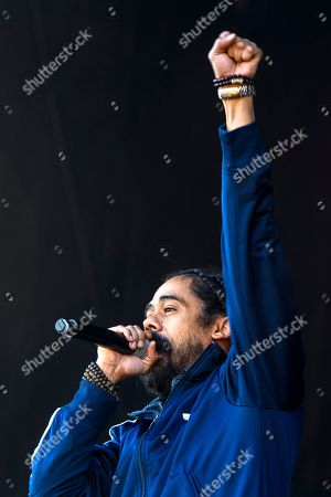 Stock Photo of Jamaican reggae singer Damian 'Jr Gong' Marley performs on the Main Stage, during the 35th Gurten music festival in Bern, Switzerland, 11 July 2018. The open air music festival runs from 11 to 14 July.