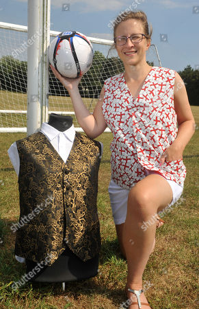 Editorial image of Claire Robertson designing England themed waistcoats, Dorset, UK - 11 Jul 2018