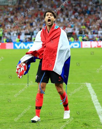 Vedran Corluka of Croatia celebrates at the end of the game