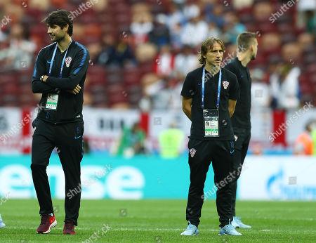 Luka Modric and Vedran Corluka of Croatia ahead of the game