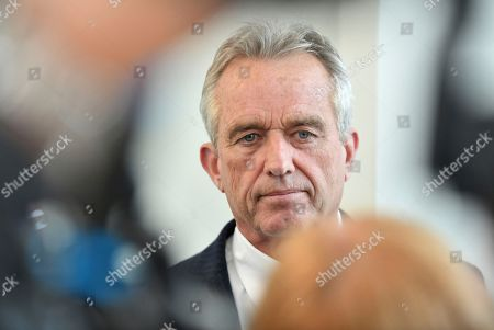 Stock Photo of Robert Francis Kennedy Jr. speaks to members of the media during a recess at the Monsanto trial being held at the Superior Court of California in San Francisco, California on . Monsanto is being accused of hiding the dangers of its popular Roundup products