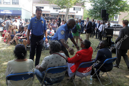 New York City Mayor Bill De Blasio, along with New York City Council Member Robert Cornegy, Brooklyn Borough President Eric Adams and Community Residents attend the celebration to kick off the construction the Marcy Houses' Community Center