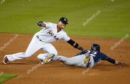 Starlin Castro, Christian Yelich. Miami Marlins second baseman Starlin Castro tags out Milwaukee Brewers' Christian Yelich (22) on an attempted steal during the third inning of a baseball game, in Miami