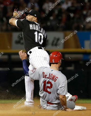 Yoan Moncada, Paul DeJong. Chicago White Sox second baseman Yoan Moncada, top, forces out St. Louis Cardinals' Paul DeJong during the eighth inning of a baseball game in Chicago, . Dexter Fowler was safe at first. The White Sox won 4-0