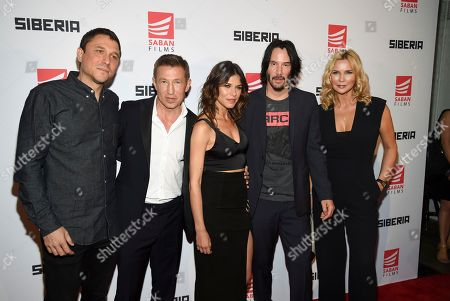 "Matthew Ross, Pasha D. Lychnikoff, Ana Ularu, Keanu Reeves, Veronica Ferres. Director Matthew Ross, left, poses with cast members, from left, Pasha D. Lychnikoff, Ana Ularu, Keanu Reeves and Veronica Ferres at the premiere of ""Siberia"" at Metrograph, in New York"