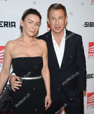 """Stock Photo of Pasha D. Lychnikoff and wife Katya attend the premiere of """"Siberia"""" at Metrograph, in New York"""