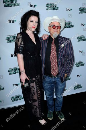 """Nora Muhlenfeld, Bobcat Goldthwait. Nora Muhlenfeld, left, and Bobcat Goldthwait arrive at the LA Premiere of """"Bobcat Goldthwait's Misfits and Monsters"""" at The Hollywood Roosevelt, in Los Angeles"""