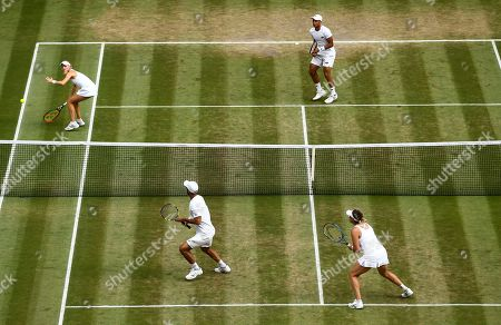 Jay Clarke and Harriet Dart during their Mixed Doubles quarter final match against Juan Sebastian Cabal and Abigail Spears