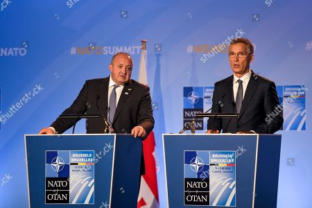 President of Georgia Giorgi Margvelashvili (L) and NATO Secretary General Jens Stoltenberg (R) deliver a press statement during a two days NATO summit at NATO headquarters in Brussels, Belgium, 12 July 2018. NATO countries' heads of states and governments gather in Brussels for a two-days meeting.