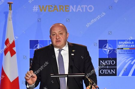 Georgian President Giorgi Margvelashvili speaks at a press conference during a summit of heads of state and government at NATO headquarters in Brussels, Belgium, . NATO leaders gather in Brussels for a two-day summit