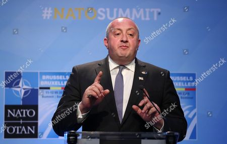 President of Georgia Giorgi Margvelashvili speaks during a press conference on the second day of the NATO Summit in Brussels, Belgium, 12 July 2018. NATO member countries' heads of states and governments gathered in Brussels on 11 and 12 July 2018 for a two days meeting.