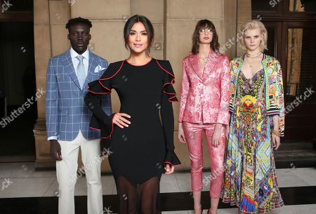 Newly announced Ambassador of Melbourne Fashion Week Pia Miller (second from left) poses for a photograph with models (L-R) Boni Bayn, Bela Palacio Hazewinkel and Tiani Lorinda following the announcement of this year's Melbourne Fashion Week program in Melbourne, Australia, 12 July 2018. Melbourne Fashion Week starts on August  31 and will run until September 7.