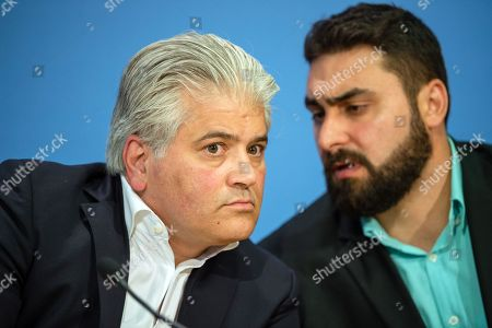 Lawyer Mehmet Daimagueler (L) and Abdul Kerim Simsek (R), son of NSU victim Enver Simsek attend a press conference in Berlin, Germany, 12 July 2018. The conference was on the assessments of a verdict in the NSU Trial. The court on 11 July found Beate Zschaepe, one of co-defendant in the NSU trial, guilty on ten counts of murder, some five years after the trial started. The court sentenced her to life imprisonment and established the particular severity of guilt. Zschaepe was accused of being a founding member of the extreme right-wing National Socialist Underground (NSU) terror cell and faced charges of complicity in the murder of nine Turkish and Greek immigrants and a policewoman between 2000 and 2007, as well as two bombings in immigrant areas of Cologne, and 15 bank robberies.