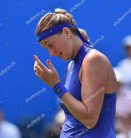 Editorial photo of Petra Kvitova . Tennis: Aegon Classic Birmingham Wta. Pic Shows:- Tereza Smitkova Vs Petra Kvitova. Petra Kvitova During Her Game Aginst Smitkova.