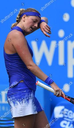 Stock Picture of Petra Kvitova . Tennis: Aegon Classic Birmingham Wta. Pic Shows:- Tereza Smitkova Vs Petra Kvitova. Petra Kvitova During Her Game Aginst Smitkova.