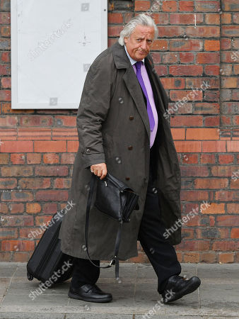 Stock Picture of Barrister Michael Mansfield Leaves After The Cps Announcement Over The Hillsborough Disaster At Parr Hall Warrington Cheshire.