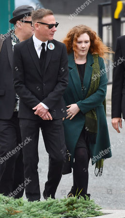 Stock Photo of Jenny Mcalpine. Coronation St. Actress And Actor Anthony Cotton And Jenny Mcalpine At The Funeral Of Manchester Arena Bomb Blast Victim Martyn Hett 29 At Stockport Town Hall Stockport Cheshire.