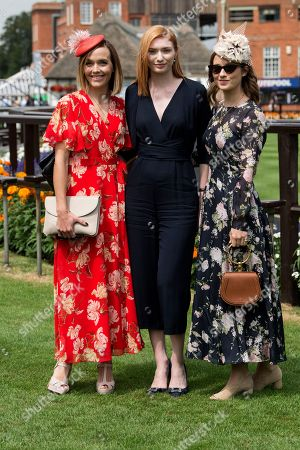 Victoria Pendleton, actress Eleanor Tomlinson and Kelly Eastwood all wearing Hobbs dresses