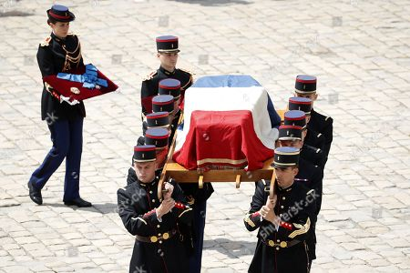 National guards carry the coffin of late French filmmaker Claude Lanzmann during a funeral ceremony at the Hotel des Invalides in Paris, France, 12 July 2018. Lanzmann died on 05 July 2018. He was 92.
