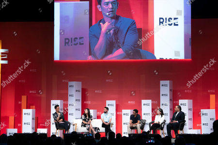 Filmmakers and cast of SEARCHING on centre stage at RISE 2018, the largest tech event in Asia,, in Hong Kong. From left to right: John Cho, Michele La, Screenwriter/Producer Sev Ohanian, Director/Screenwriter Aneesh Chaganty, Producer Natalie Qasabian and Alex Holmes, Deputy CEO of The Diana Award. #searchingmovie,#RISE2018