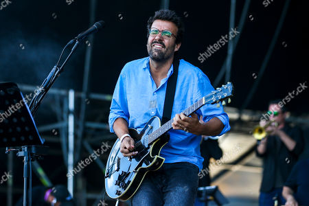 Portuguese singer Miguel Araujo performs during the Nos Alive Festival in Oeiras, on the outskirts of Lisbon, Portugal, 12 July 2018. The festival runs from 12 to 14 July.