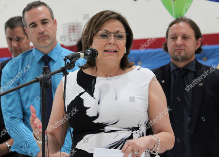 Gov. Susana Martinez talks about New Mexico students' rising test scores during an event at North Valley Academy in Los Ranchos, N.M., on . Martinez said the credit for improvement in reading and math seen over the last few years goes to teachers and school leaders