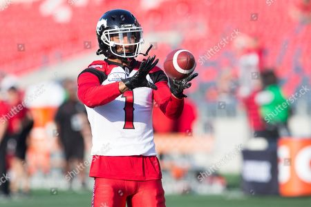Stock Photo of Calgary Stampeders wide receiver Lemar Durant (1) prior to the CFL game between the Calgary Stampeders and Ottawa Redblacks at TD Place Stadium in Ottawa, Canada