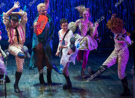 """Stock Image of The Go-Go's band member Jane Wiedlin performs at the curtain call for the Broadway musical """"Head Over Heels"""" at the Hudson Theatre, in New York"""