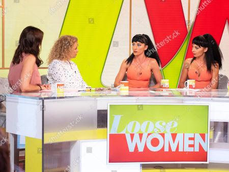 Andrea McLean, Nadia Sawalha with The Cheeky Girls - Gabriela and Monica Irimia