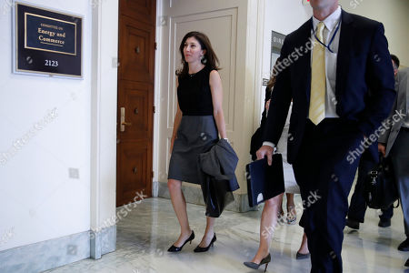 Former FBI lawyer Lisa Page, left, arrives for a closed door interview with the House Judiciary and House Oversight committees, on Capitol Hill in Washington