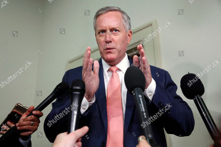 Rep. Mark Meadows, R-N.C., speaks to members of the media after attending a closed door interview of former FBI lawyer Lisa Page by the House Judiciary and House Oversight and Government Reform committees, on Capitol Hill in Washington