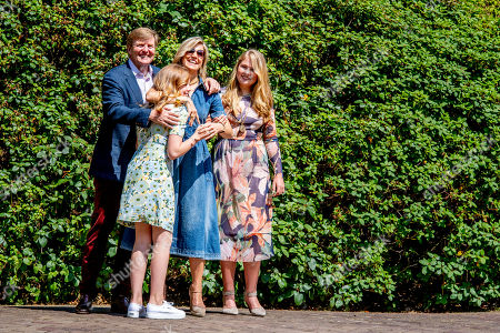 King Willem-Alexander, Queen Maxima, Princess Catharina-Amalia and Princess Alexia during the annual royal photo session in the garden of Villa Eikenhorst.