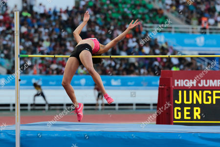 Germany's Marie-Laurence Jungfleisch performs an attempt in the women's high jump finals during the IAAF Diamond League meeting in Rabat, Morocco