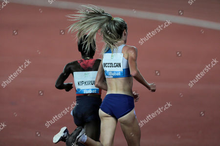 Britain's Eilish McColgan, right, and Kenya's Caroline Kipkirui compete in the women's 5,000m race during the IAAF Diamond League meeting in Rabat, Morocco