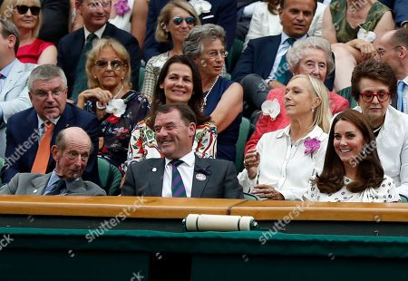 President of the IOC Thomas Bach (L), Prince Edward, Duke of Kent (2-L) , Julia Lemigova (C-L) Martina Navratilova  (C-R) Catherine, Duchess of Cambridge (2-R) and Billie Jean King (R) watch Serena Williams of the US and Angelique Kerber of Germany during their Women's Final match at the Wimbledon Championships at the All England Lawn Tennis Club, in London, Britain, 14 July 2018.