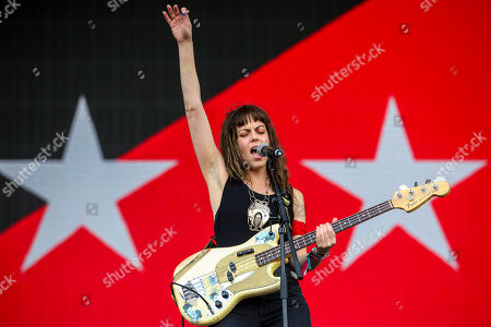 The lead singer of US Rock Band The Last Internationale, Delila Paz, performs at Nos Alive Festival in Oeiras, on the outskirts of Lisbon, Portugal, 14 July 2018. The festival runs from 12 to 14 July.