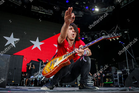 Stock Image of The lead guitarist of US Rock Band The Last Internationale, Edgey Pires, performs at Nos Alive Festival in Oeiras, on the outskirts of Lisbon, Portugal, 14 July 2018. The festival runs from 12 to 14 July.