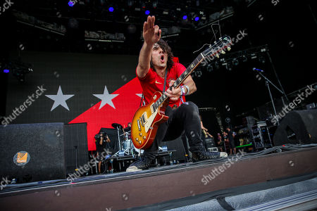 The lead guitarist of US Rock Band The Last Internationale, Edgey Pires, performs at Nos Alive Festival in Oeiras, on the outskirts of Lisbon, Portugal, 14 July 2018. The festival runs from 12 to 14 July.