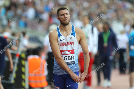 Andrew Pozzi of Great Britain and Northern Ireland pulls out of the mens 110 metres hurdles event during the Athletics World Cup at The London Stadium on 14th July 2018