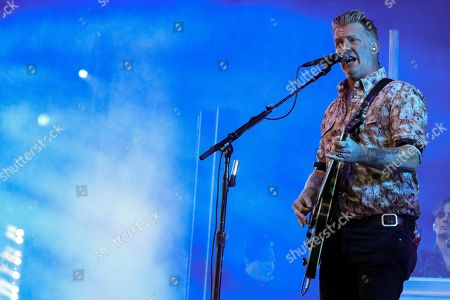 Stock Picture of The singer and guitarist of the US band 'Queens of the Stone Age', Josh Homme, performs during the Mad Cool Festival, at the Valdebebas park, in Madrid, Spain, 14 July 2018.