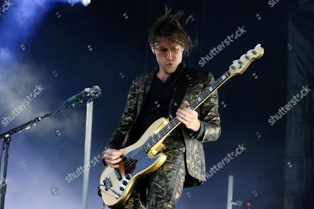 The bassist of the US band 'Queens of the Stone Age', Troy Van Leeuwen, performs during the Mad Cool Festival, at the Valdebebas park, in Madrid, Spain, 14 July 2018.